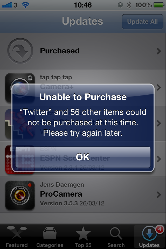 Unable to Purchase Error