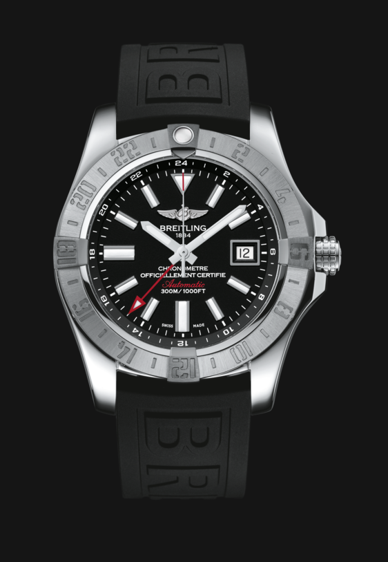 Breitling Avenger II GMT with Volcano Black Dial, Driver Pro III (Black) and Deployment Clasp