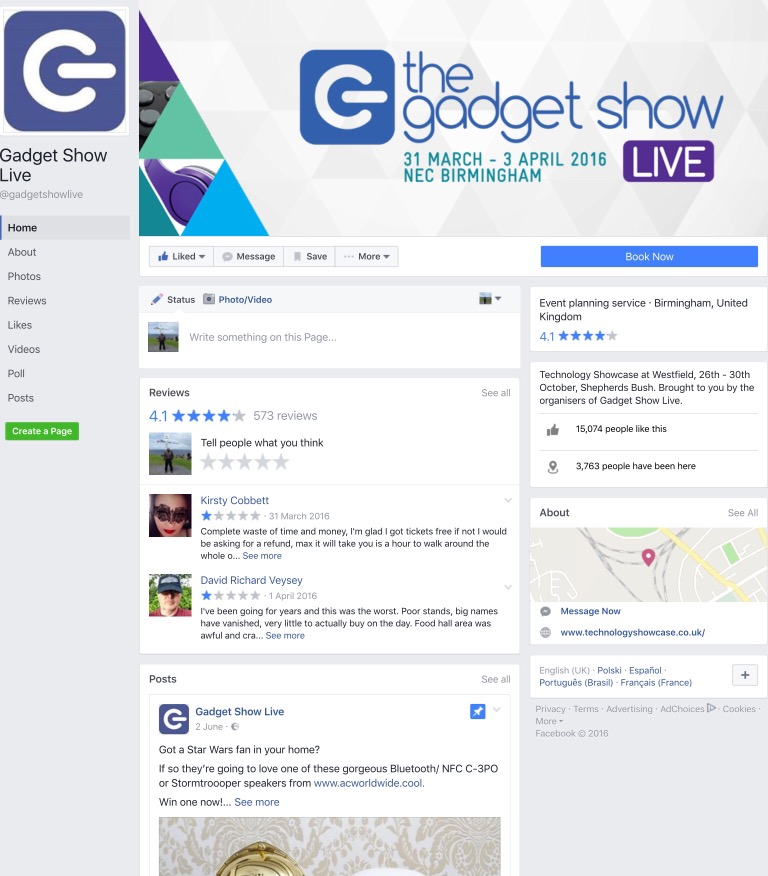 Gadget Show Live Faceebook Page has a distinct lack of any mention of the Gadget Show Live!