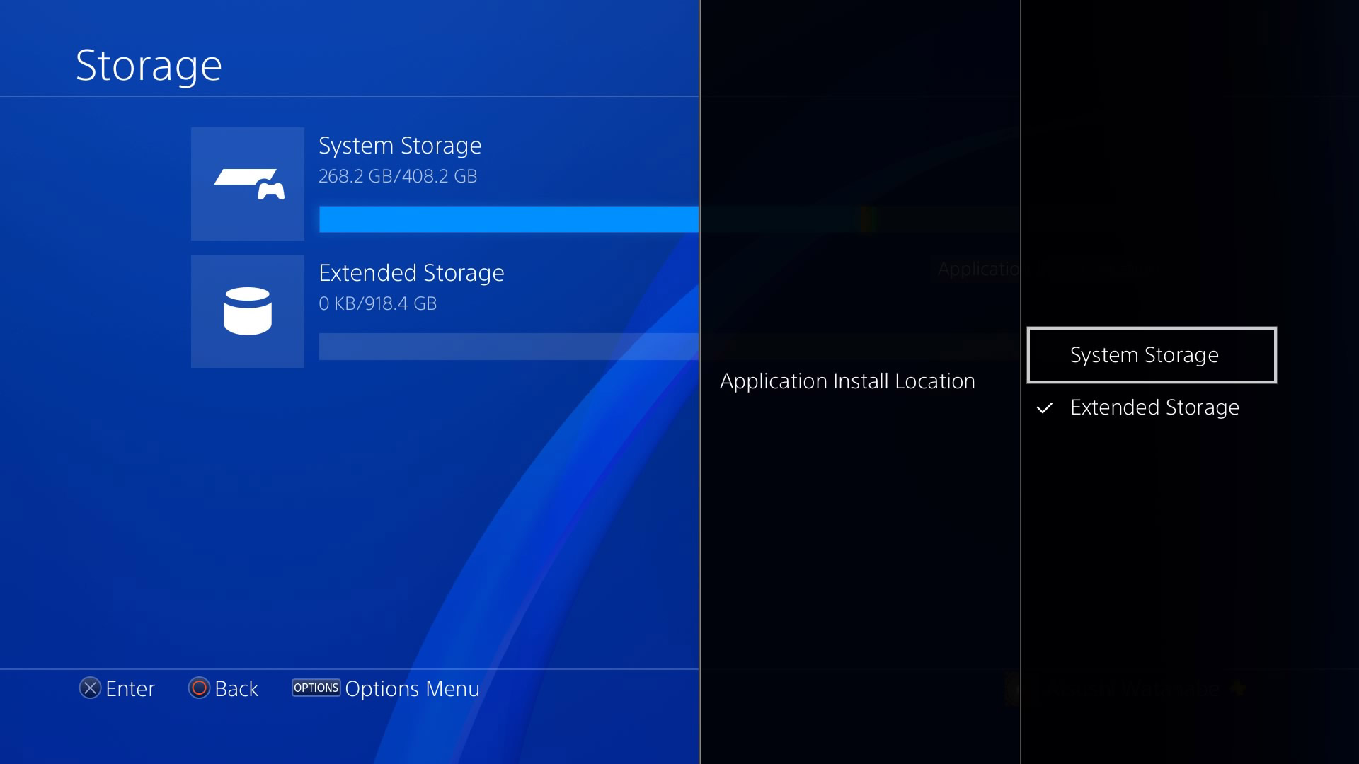 PS4 Selecting Application Install Location