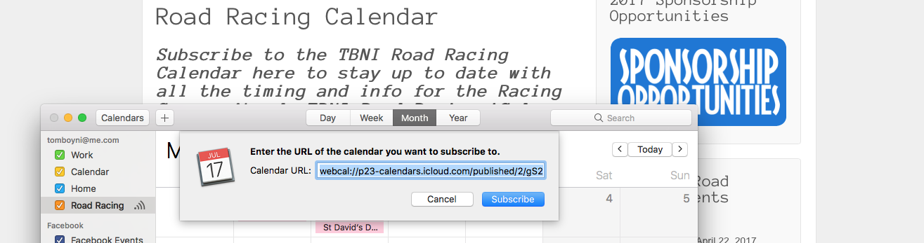 iCal Subscription Popup