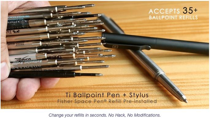 TI Ballpint Pen Accepts over 35 Refills