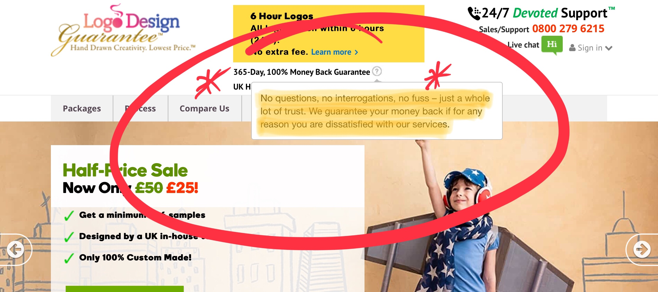 LogoDesignGuarantee Promise a no fuss refund policy - they do not deliver!