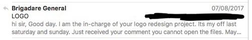 Email Chain Between Myself and LogoDesignGuarantee
