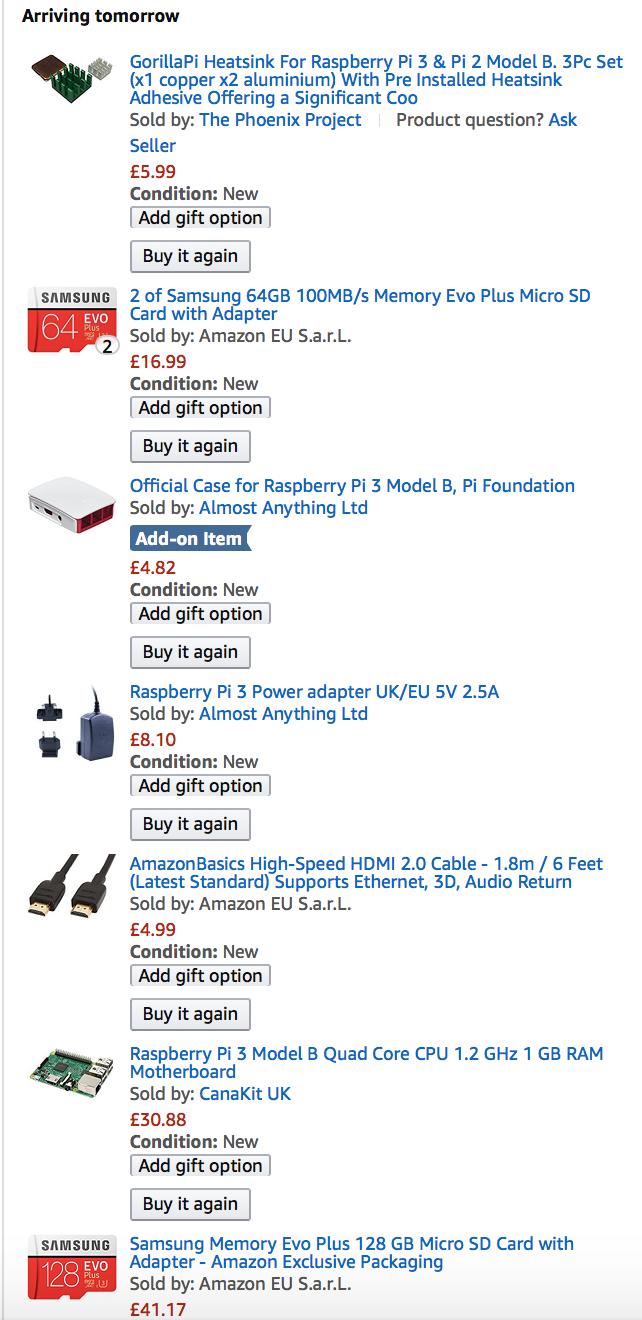 Raspberry Pi - Ordered Items