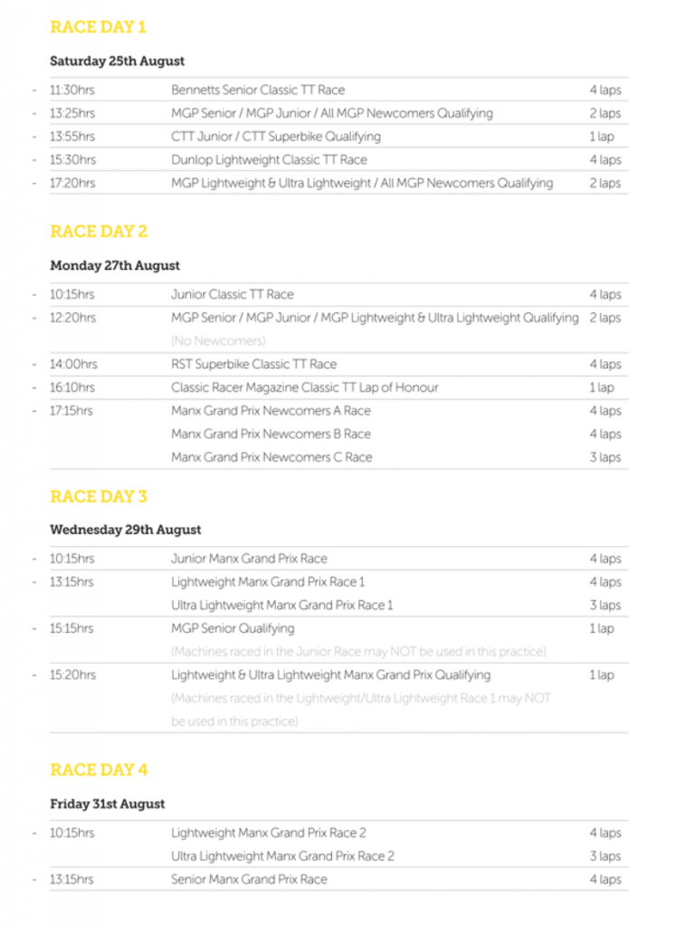 Race Week Schedule 2018