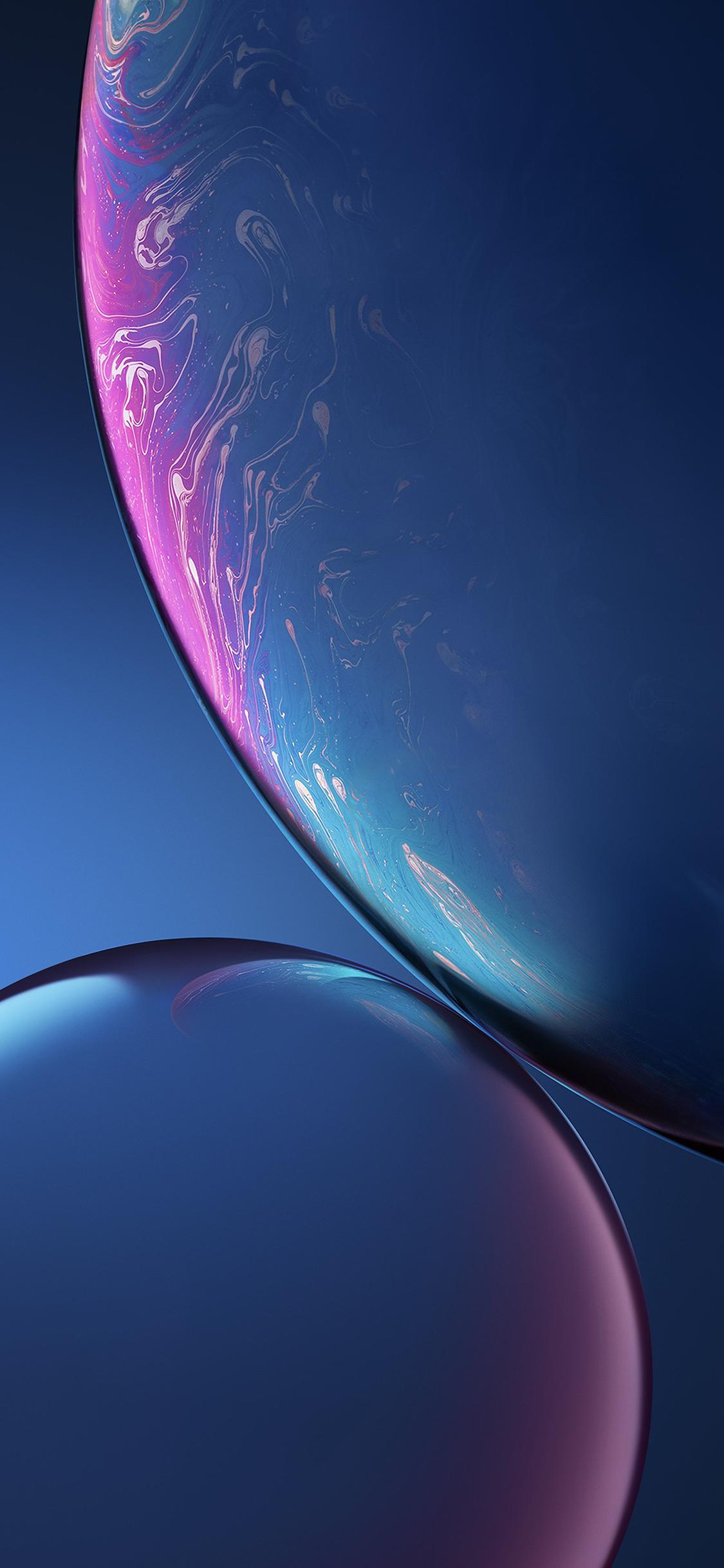 iPhone XR Blue Bubbles Wallpaper