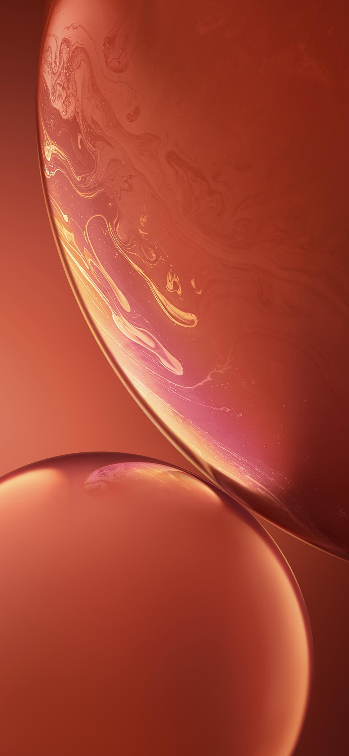 iPhone XR Orange Bubbles Wallpaper