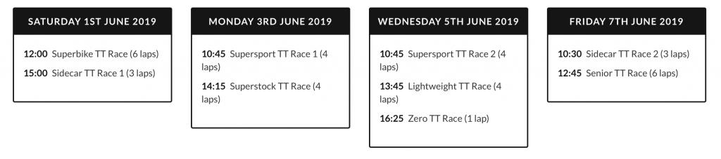 2019 Isle of Man TT Schedule