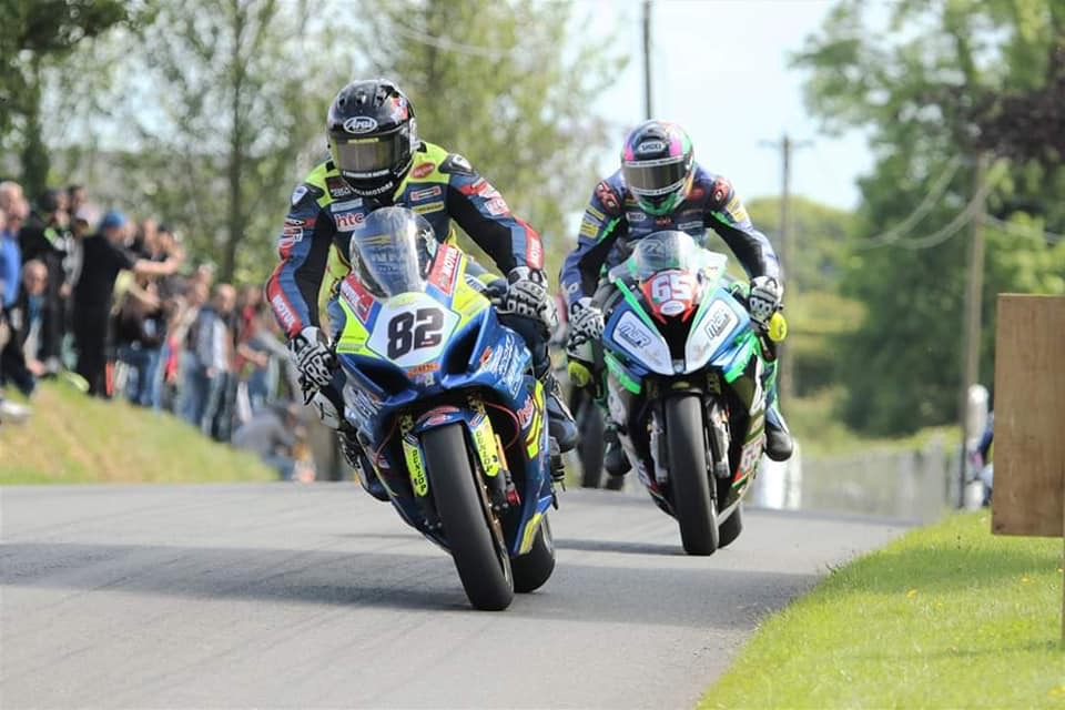 Derek Shiels and Michael Sweeney locked in a duel at the 2019 Kells Road Races